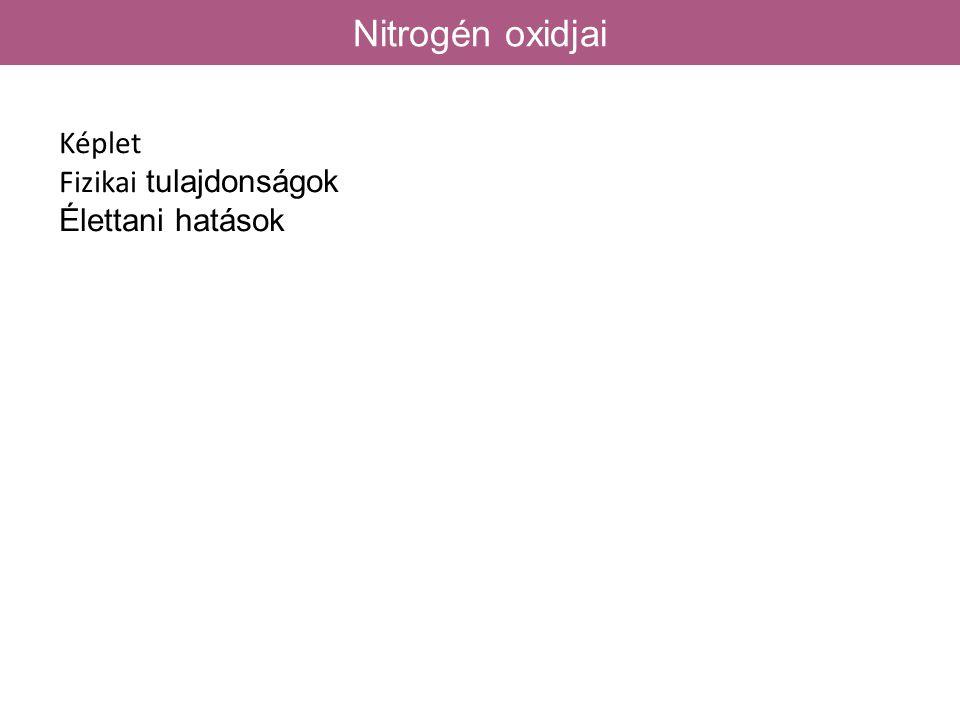 Nitrogén oxidjai Képlet Fizikai tulajdonságok Élettani hatások 58