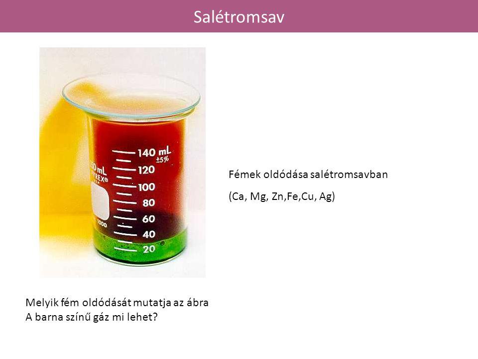 Salétromsav Fémek oldódása salétromsavban (Ca, Mg, Zn,Fe,Cu, Ag)