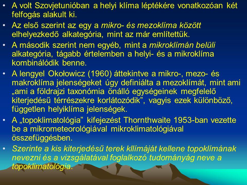 A volt Szovjetunióban a helyi klíma léptékére vonatkozóan két felfogás alakult ki.