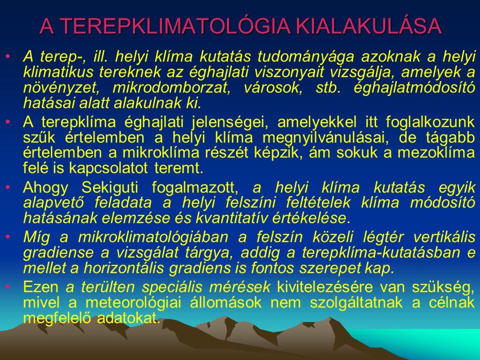 A TEREPKLIMATOLÓGIA KIALAKULÁSA