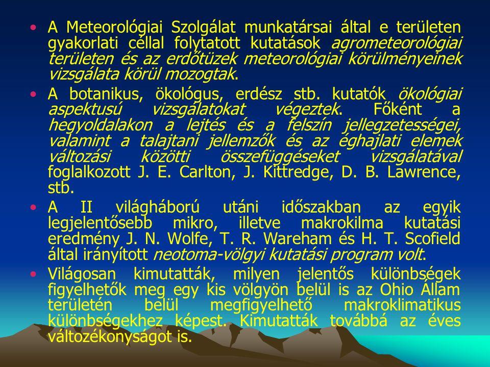 A Meteorológiai Szolgálat munkatársai által e területen gyakorlati céllal folytatott kutatások agrometeorológiai területen és az erdőtüzek meteorológiai körülményeinek vizsgálata körül mozogtak.
