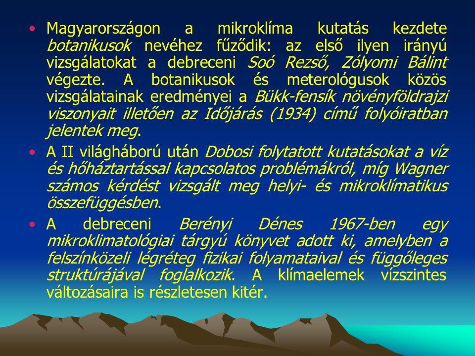Magyarországon a mikroklíma kutatás kezdete botanikusok nevéhez fűződik: az első ilyen irányú vizsgálatokat a debreceni Soó Rezső, Zólyomi Bálint végezte. A botanikusok és meterológusok közös vizsgálatainak eredményei a Bükk-fensík növényföldrajzi viszonyait illetően az Időjárás (1934) című folyóiratban jelentek meg.