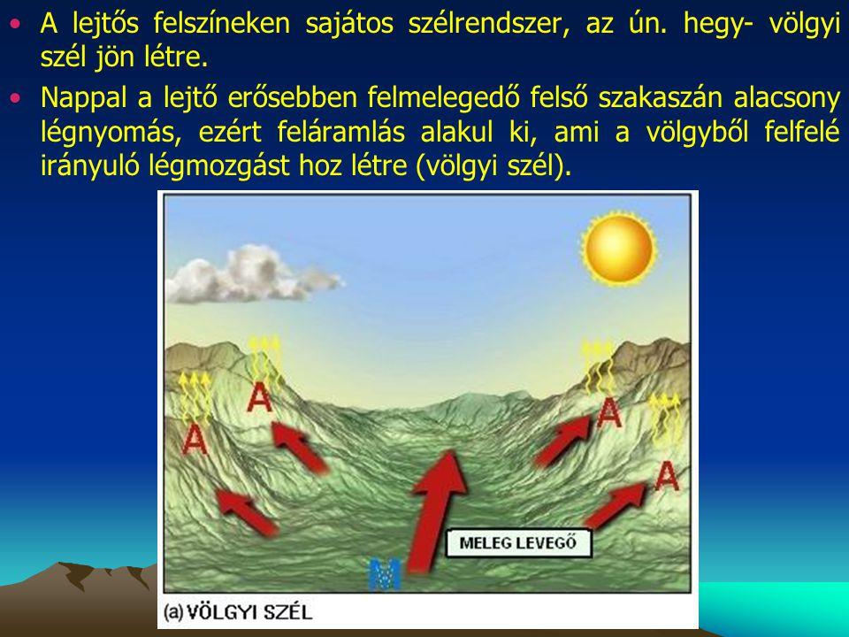 A lejtős felszíneken sajátos szélrendszer, az ún
