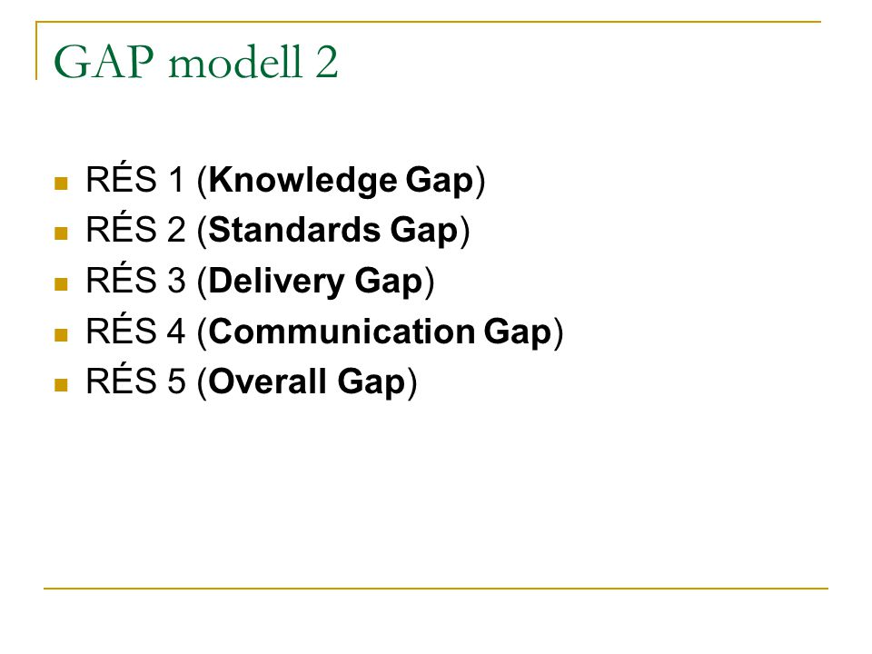 GAP modell 2 RÉS 1 (Knowledge Gap) RÉS 2 (Standards Gap)