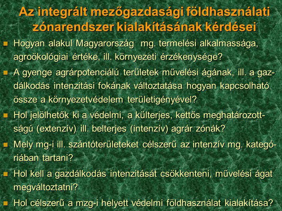 Az integrált mezőgazdasági földhasználati zónarendszer kialakításának kérdései