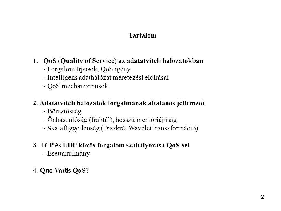 Tartalom QoS (Quality of Service) az adatátviteli hálózatokban. - Forgalom típusok, QoS igény. - Intelligens adathálózat méretezési előírásai.