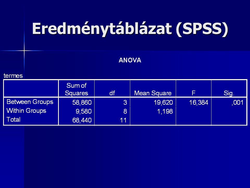 Eredménytáblázat (SPSS)