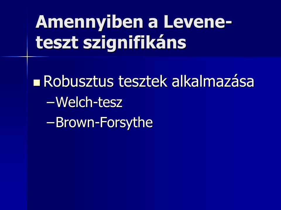 Amennyiben a Levene-teszt szignifikáns