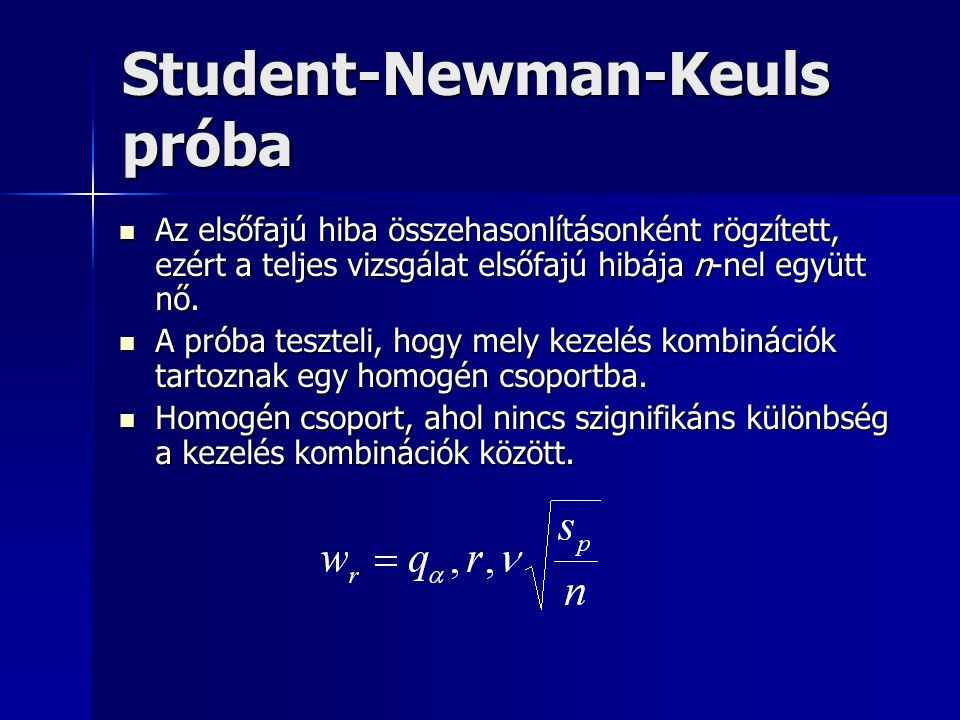 Student-Newman-Keuls próba