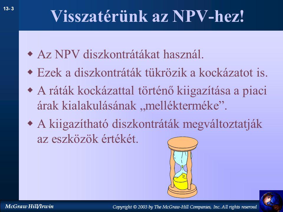 Visszatérünk az NPV-hez!