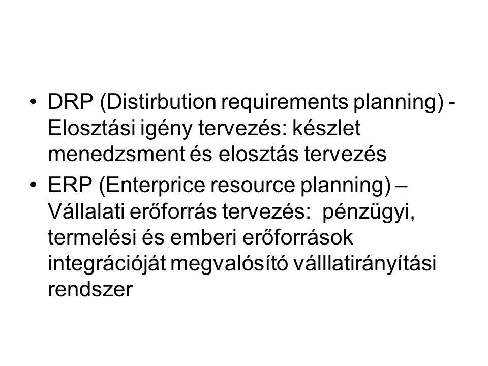 DRP (Distirbution requirements planning) - Elosztási igény tervezés: készlet menedzsment és elosztás tervezés