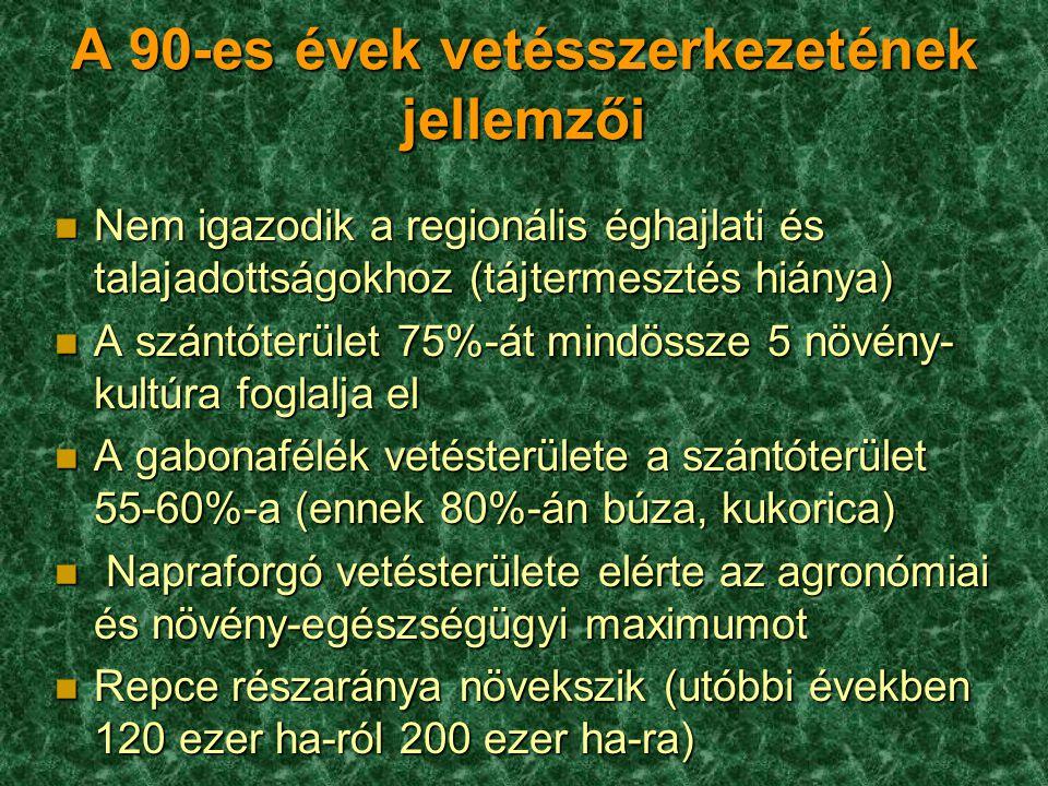 A 90-es évek vetésszerkezetének jellemzői
