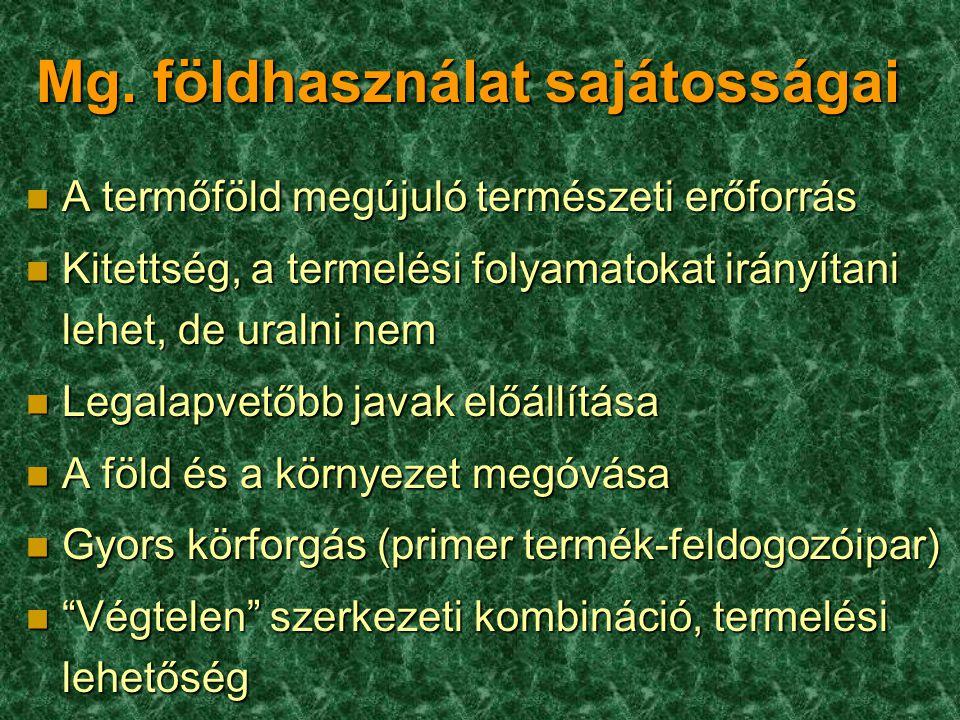 Mg. földhasználat sajátosságai