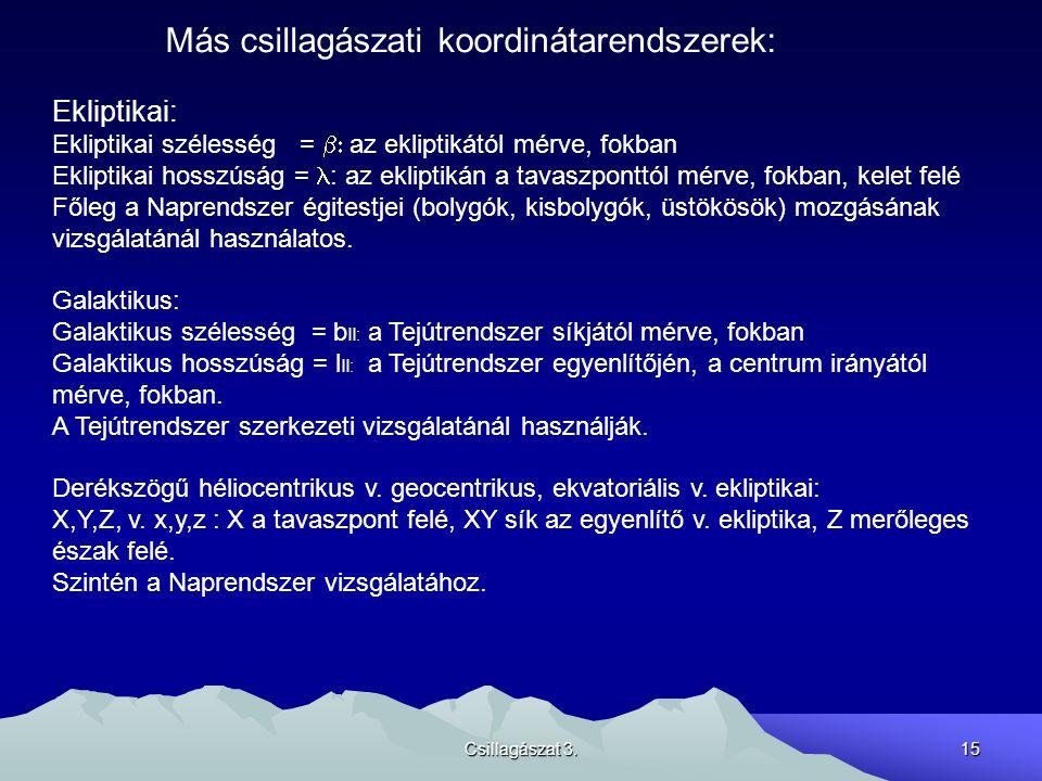 Más csillagászati koordinátarendszerek: