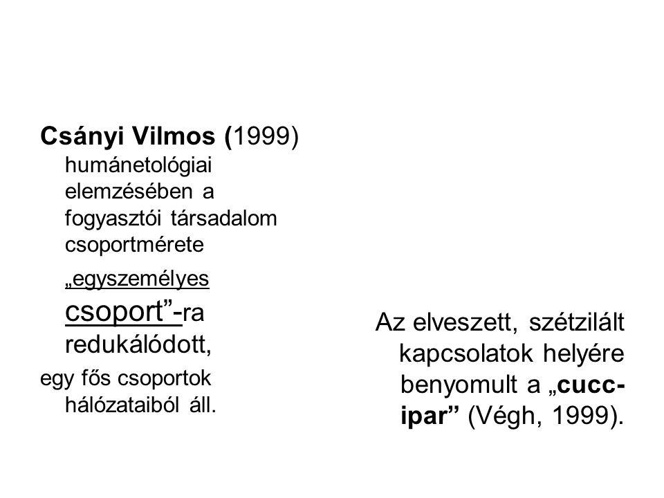 """Csányi Vilmos (1999) humánetológiai elemzésében a fogyasztói társadalom csoportmérete """"egyszemélyes csoport -ra redukálódott,"""