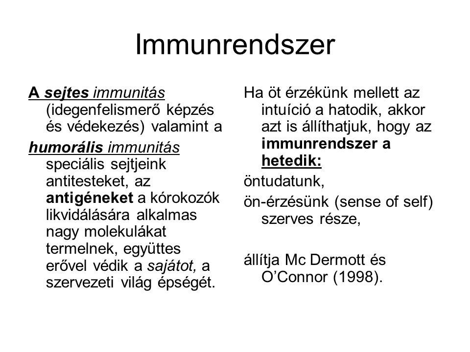 Immunrendszer A sejtes immunitás (idegenfelismerő képzés és védekezés) valamint a.