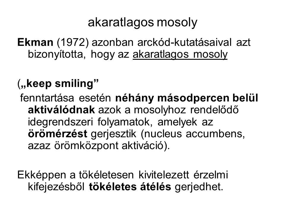akaratlagos mosoly Ekman (1972) azonban arckód-kutatásaival azt bizonyította, hogy az akaratlagos mosoly.