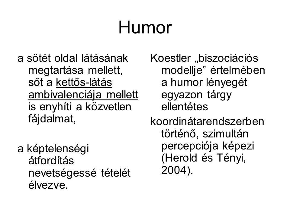 Humor a sötét oldal látásának megtartása mellett, sőt a kettős-látás ambivalenciája mellett is enyhíti a közvetlen fájdalmat,