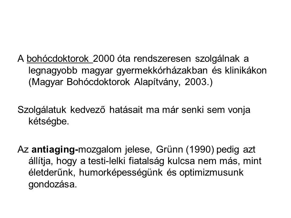 A bohócdoktorok 2000 óta rendszeresen szolgálnak a legnagyobb magyar gyermekkórházakban és klinikákon (Magyar Bohócdoktorok Alapítvány, 2003.)