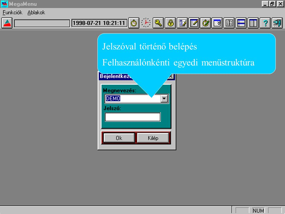 MegaMenü bejelentkező képernyő