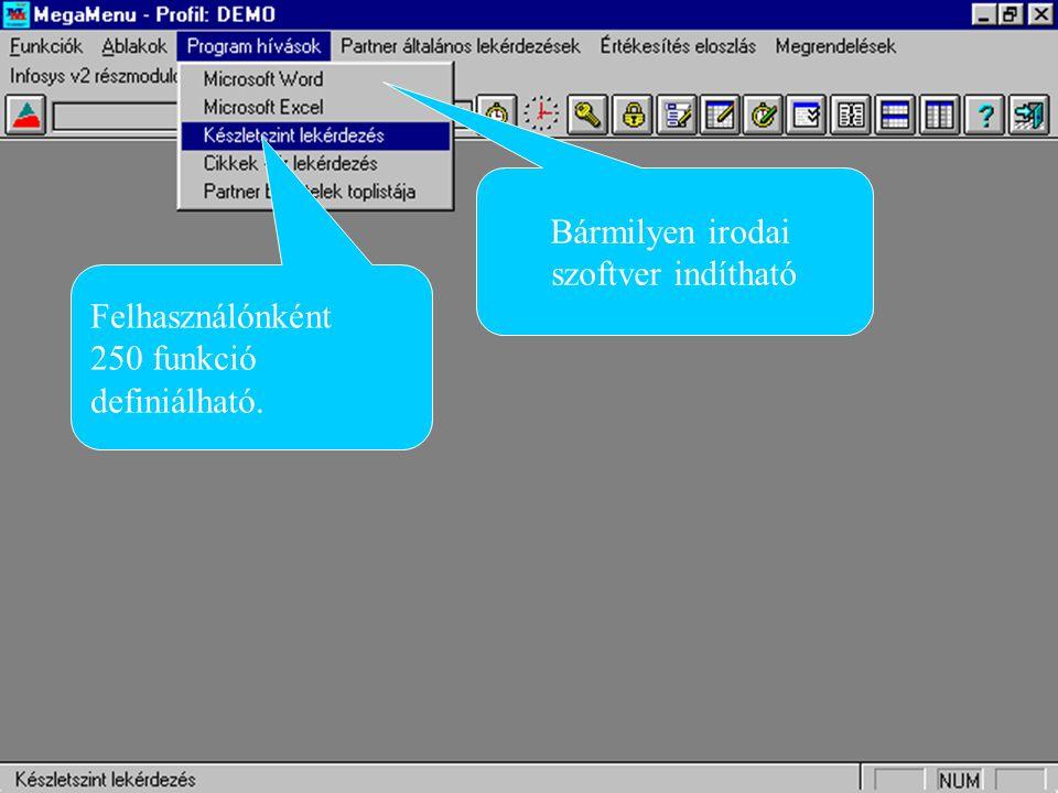 Bármilyen irodai szoftver indítható Felhasználónként 250 funkció