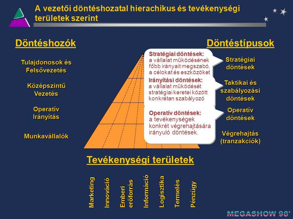 A vezetői döntéshozatal hierachikus és tevékenységi területek szerint