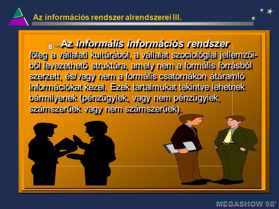 Az információs rendszer alrendszerei III.