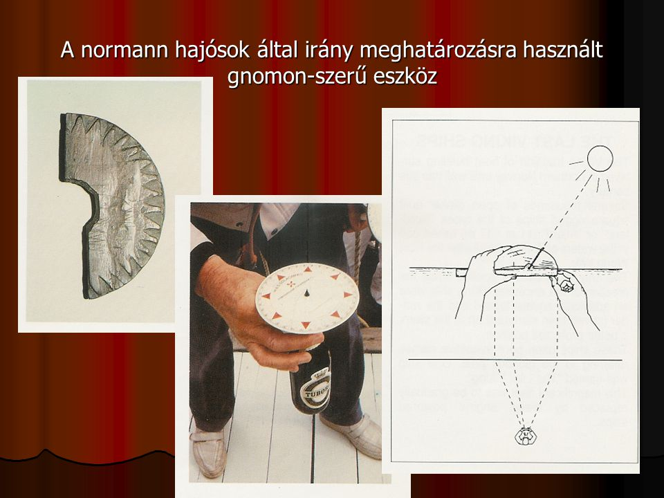 A normann hajósok által irány meghatározásra használt gnomon-szerű eszköz