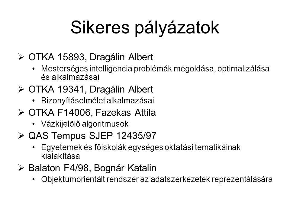 Sikeres pályázatok OTKA 15893, Dragálin Albert