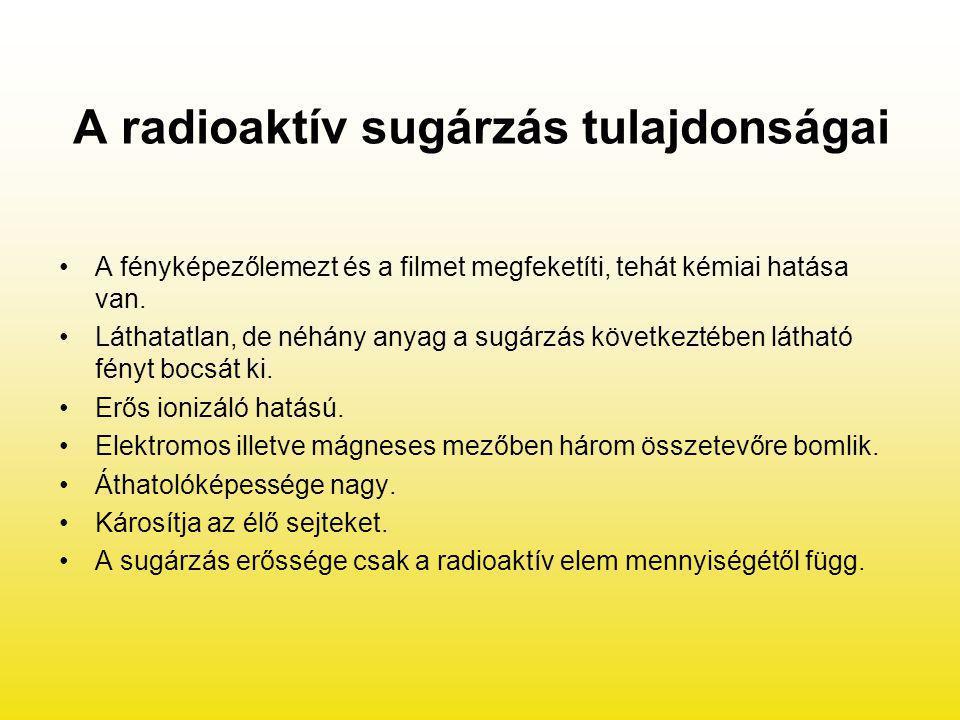 A radioaktív sugárzás tulajdonságai