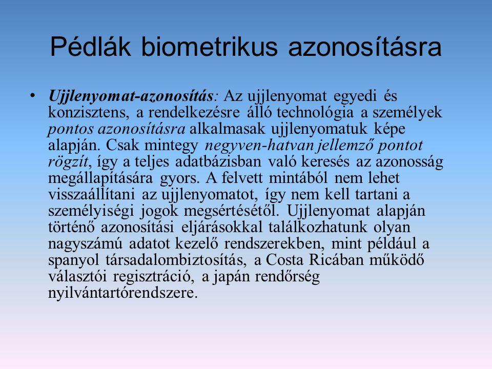 Pédlák biometrikus azonosításra