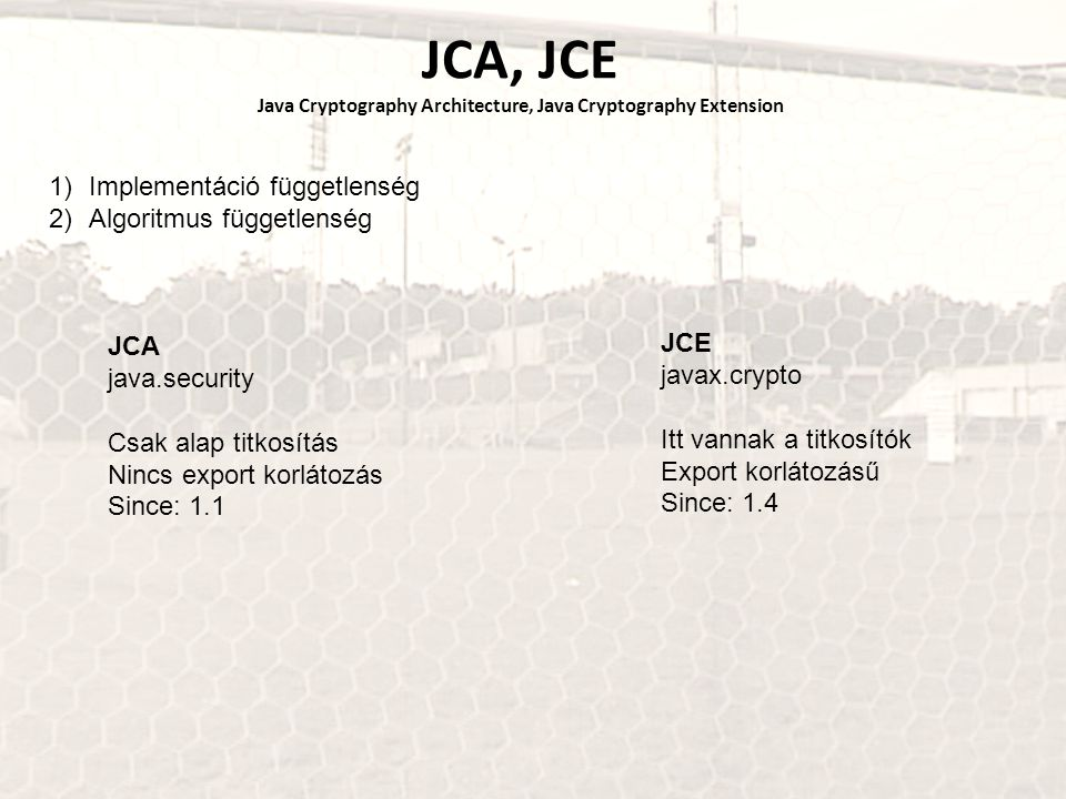 JCA, JCE Java Cryptography Architecture, Java Cryptography Extension