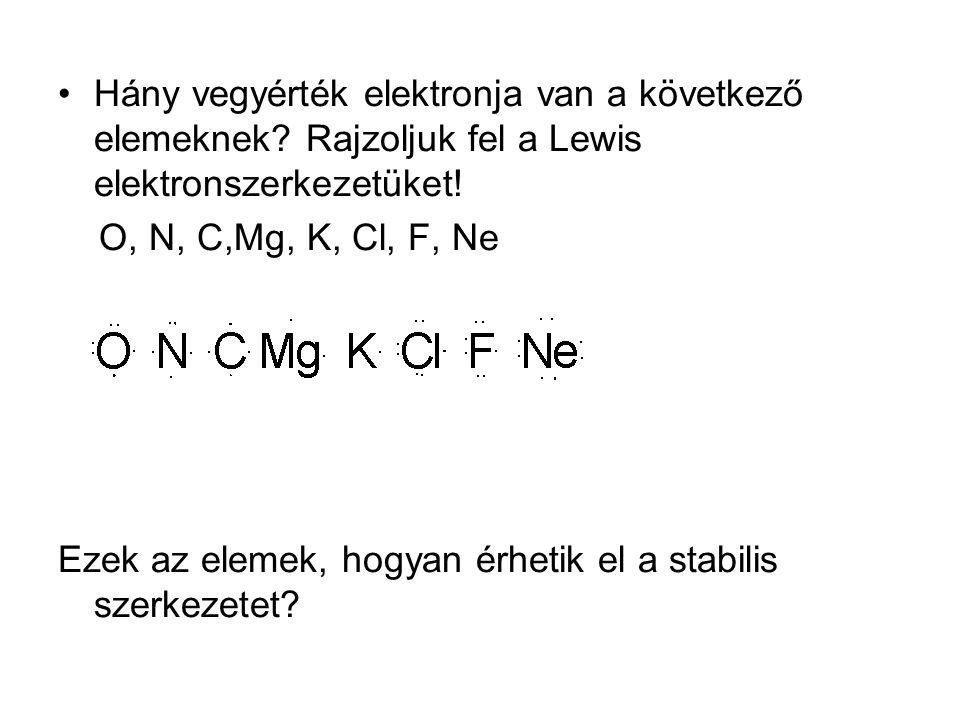 Hány vegyérték elektronja van a következő elemeknek