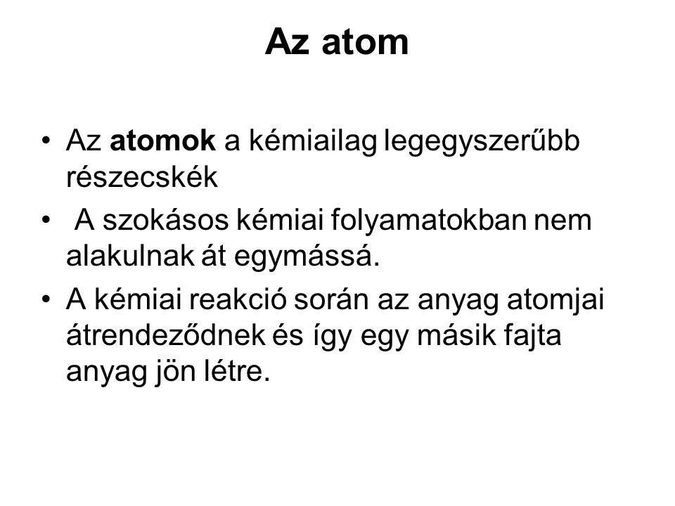 Az atom Az atomok a kémiailag legegyszerűbb részecskék