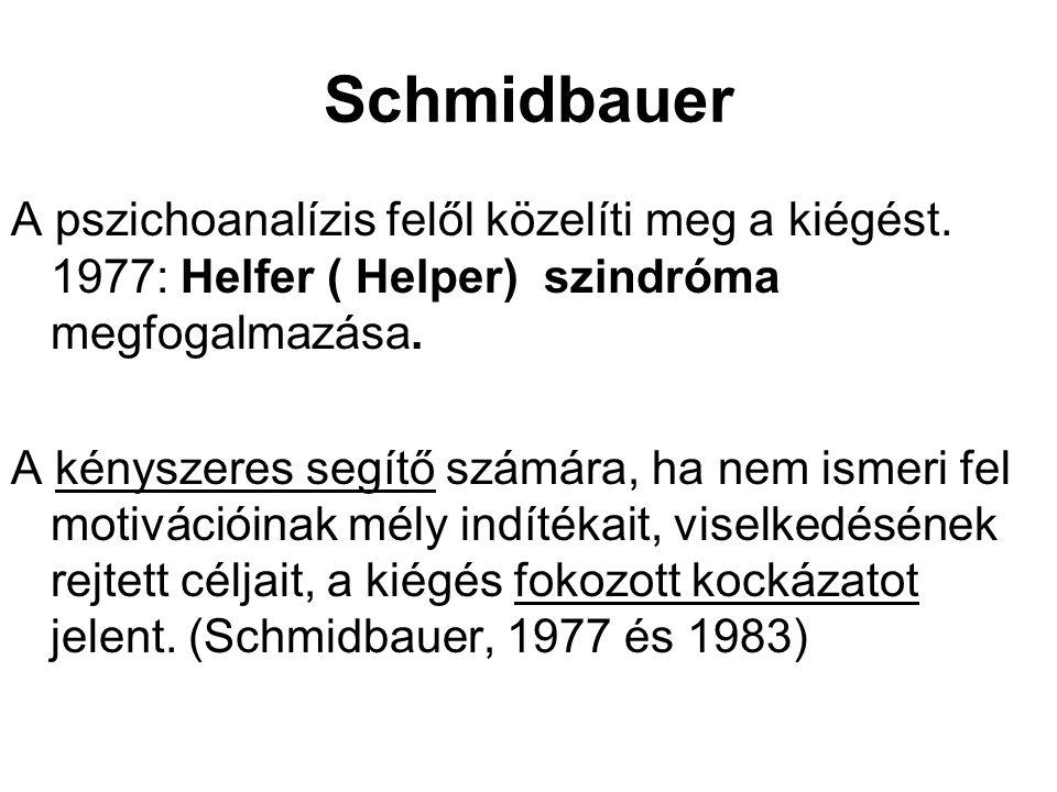 Schmidbauer A pszichoanalízis felől közelíti meg a kiégést. 1977: Helfer ( Helper) szindróma megfogalmazása.