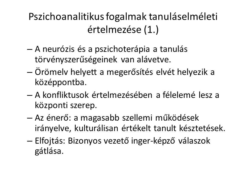 Pszichoanalitikus fogalmak tanuláselméleti értelmezése (1.)