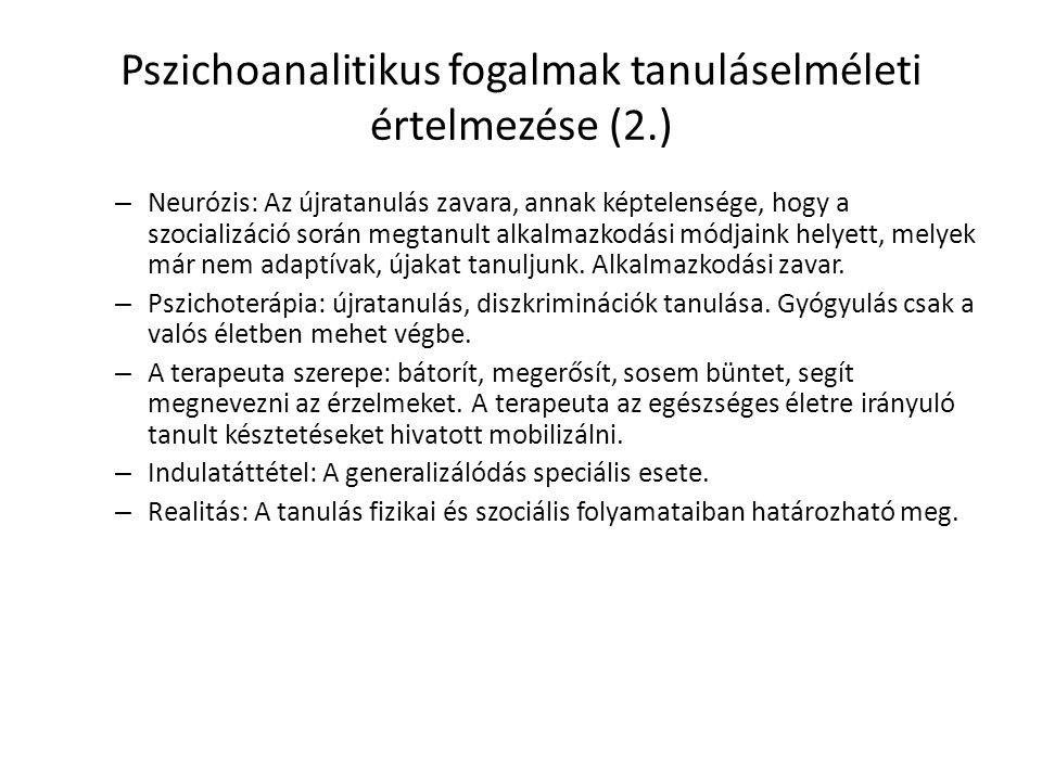 Pszichoanalitikus fogalmak tanuláselméleti értelmezése (2.)