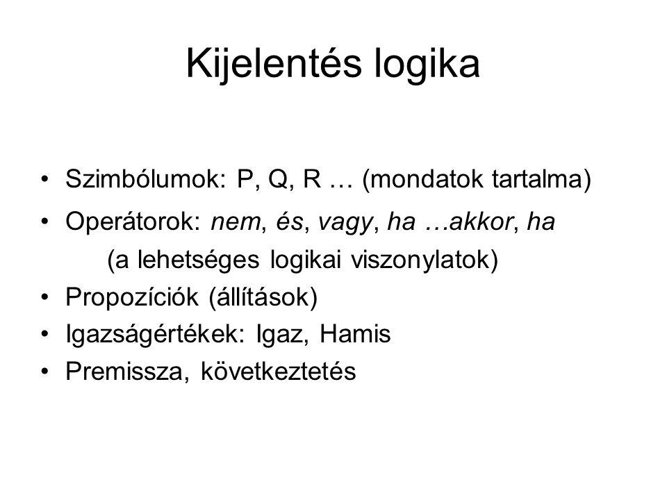 Kijelentés logika Szimbólumok: P, Q, R … (mondatok tartalma)