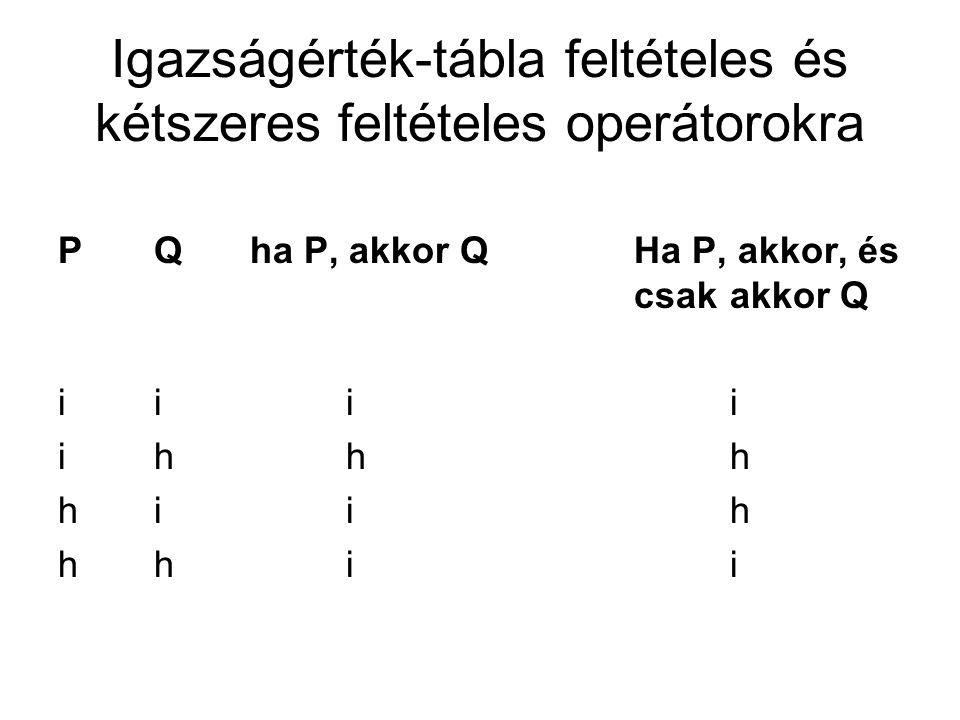 Igazságérték-tábla feltételes és kétszeres feltételes operátorokra