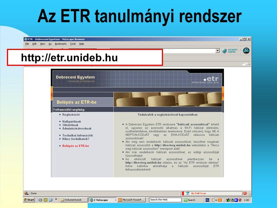 Az ETR tanulmányi rendszer
