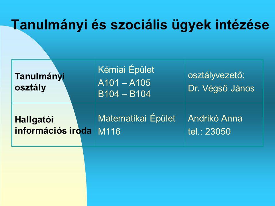 Tanulmányi és szociális ügyek intézése