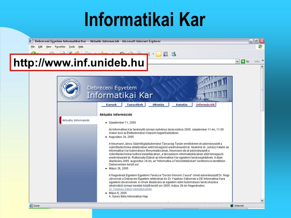 4/4/2017 Informatikai Kar http://www.inf.unideb.hu