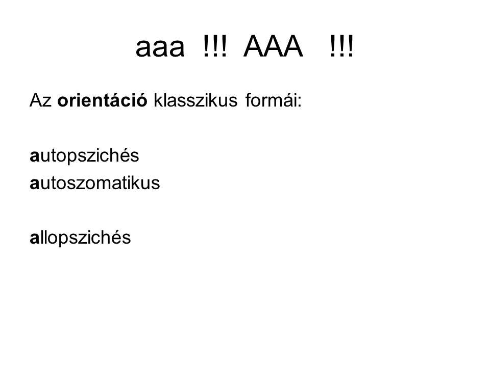 aaa !!! AAA !!! Az orientáció klasszikus formái: autopszichés
