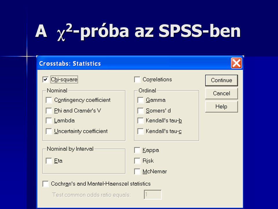 A χ2-próba az SPSS-ben