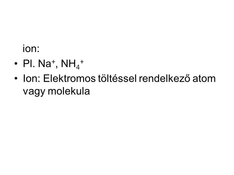 ion: Pl. Na+, NH4+ Ion: Elektromos töltéssel rendelkező atom vagy molekula