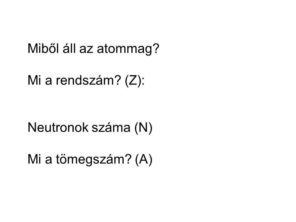 Miből áll az atommag Mi a rendszám (Z): Neutronok száma (N) Mi a tömegszám (A)