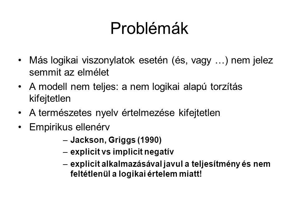 Problémák Más logikai viszonylatok esetén (és, vagy …) nem jelez semmit az elmélet. A modell nem teljes: a nem logikai alapú torzítás kifejtetlen.