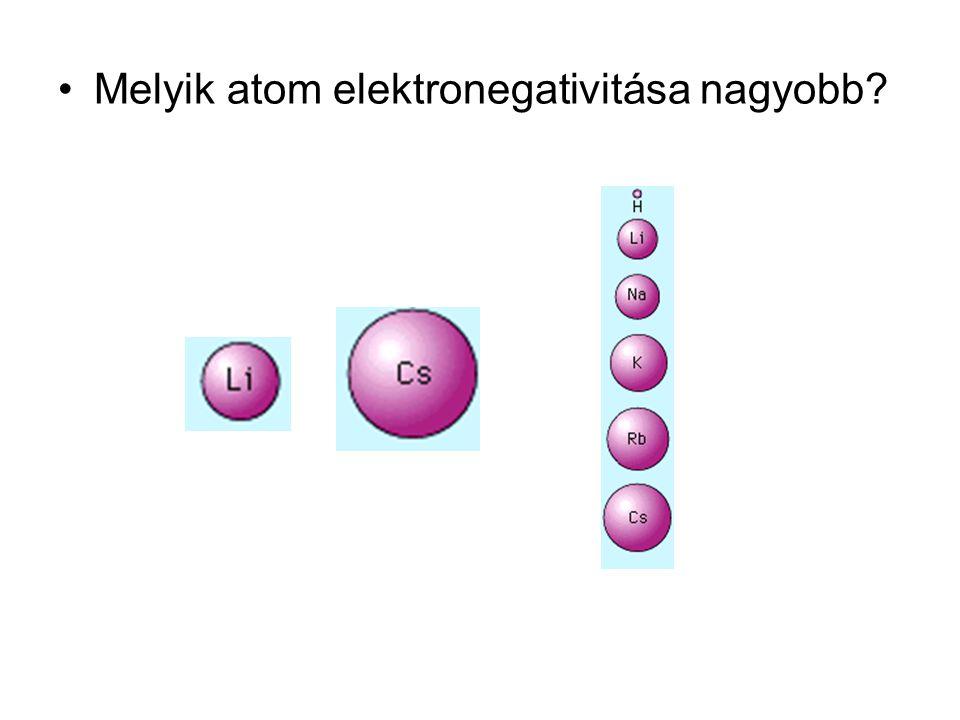 Melyik atom elektronegativitása nagyobb