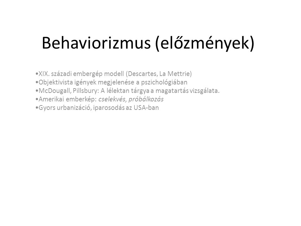 Behaviorizmus (előzmények)