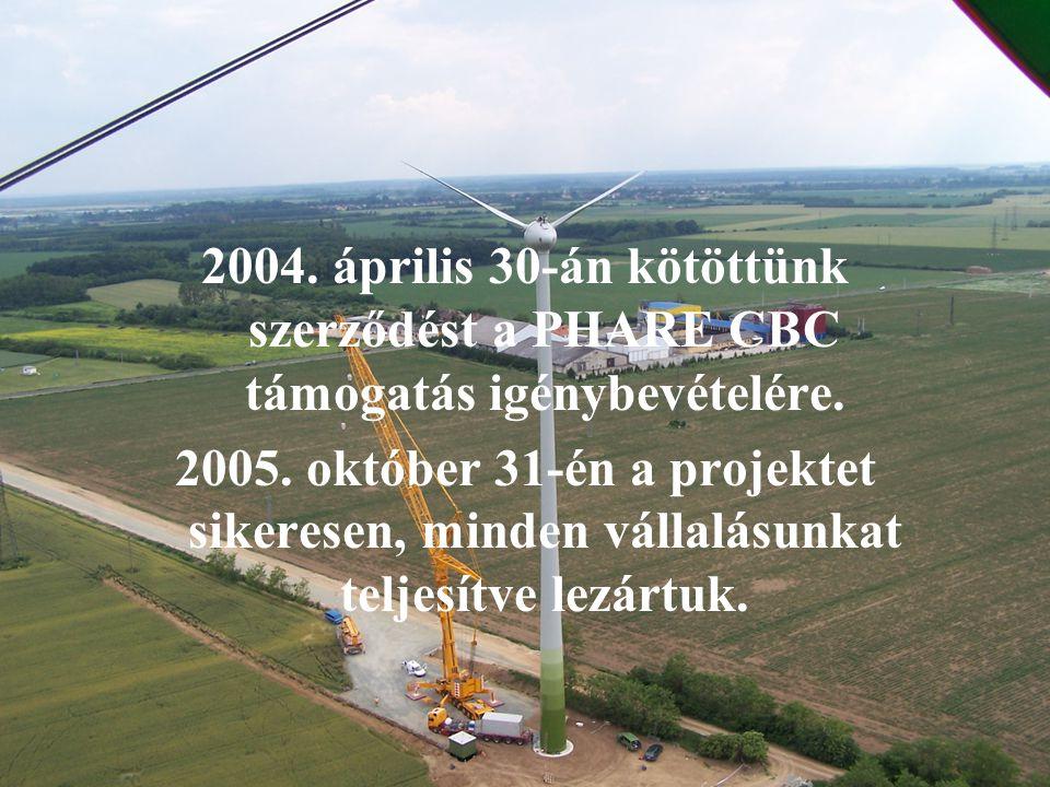 2004. április 30-án kötöttünk szerződést a PHARE CBC támogatás igénybevételére.